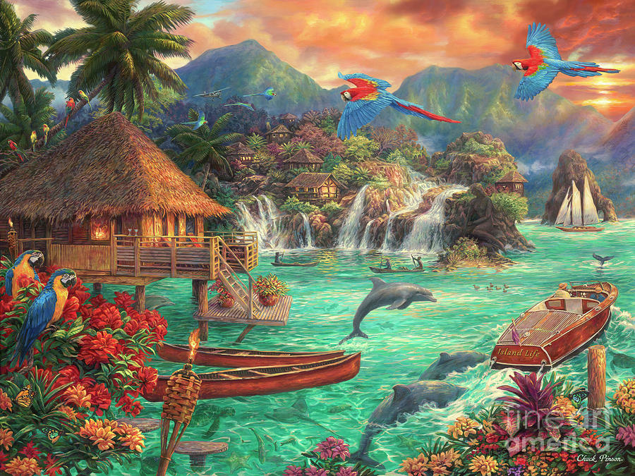 Tropical Paradise Painting - Island Life by Chuck Pinson