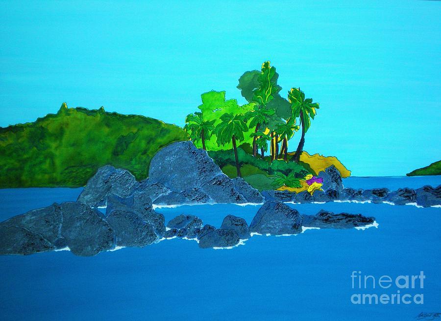 Watercolour Painting - Island by Michaela Bautz