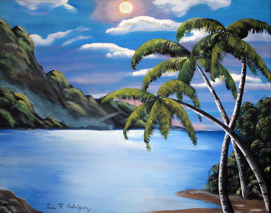Island Painting - Island Night Glow by Luis F Rodriguez