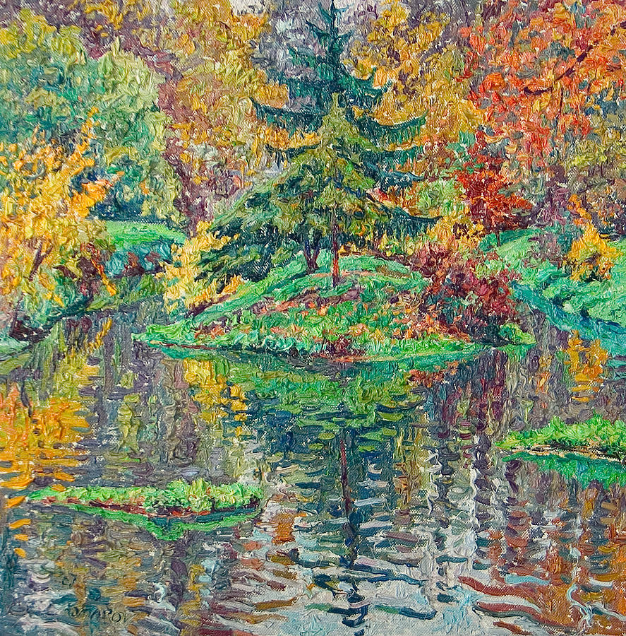 Landscape Painting - Island on the park pond by Vitali Komarov