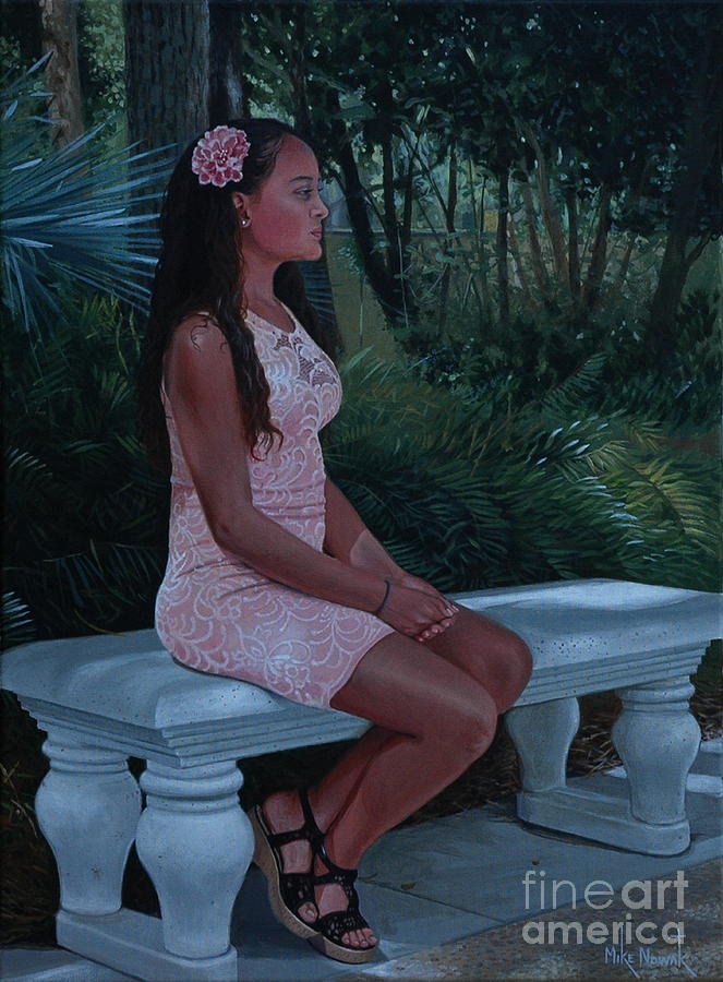 Young Woman Painting - Island Princess by Michael Nowak
