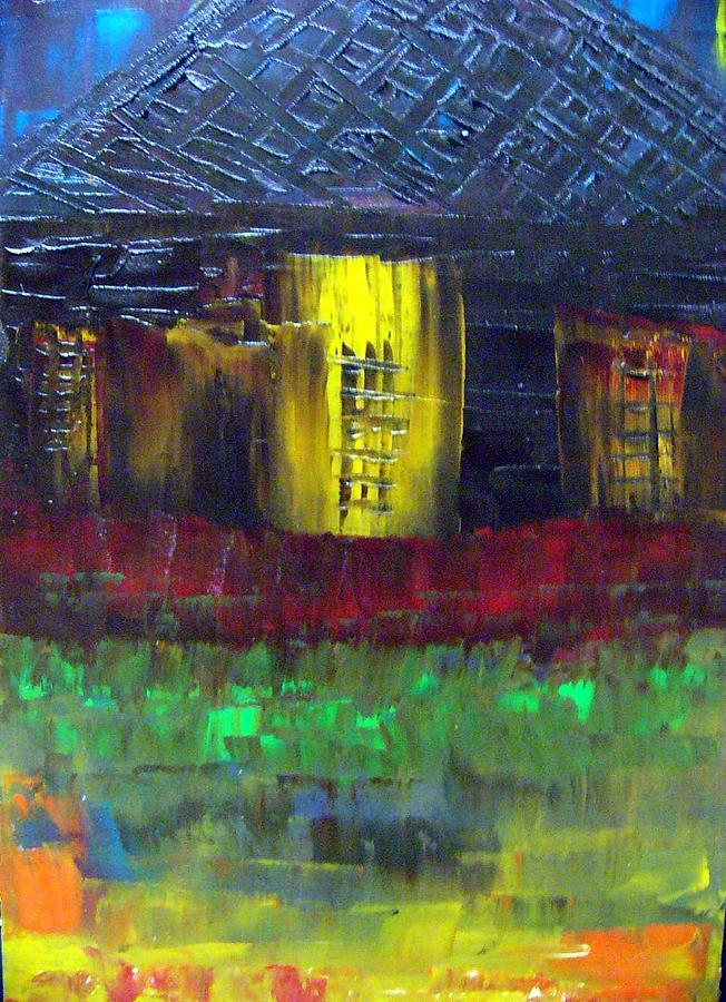 Texture Painting - Island Shack 2 by Glenda  Jones