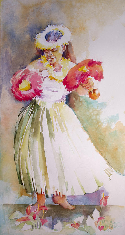 Hula Painting - Hilo March by Penny Taylor-Beardow