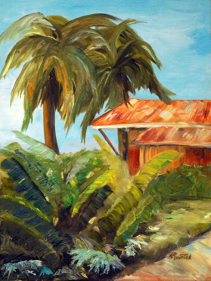 Tropical Painting - Island Sugar Shack by Phil Burton