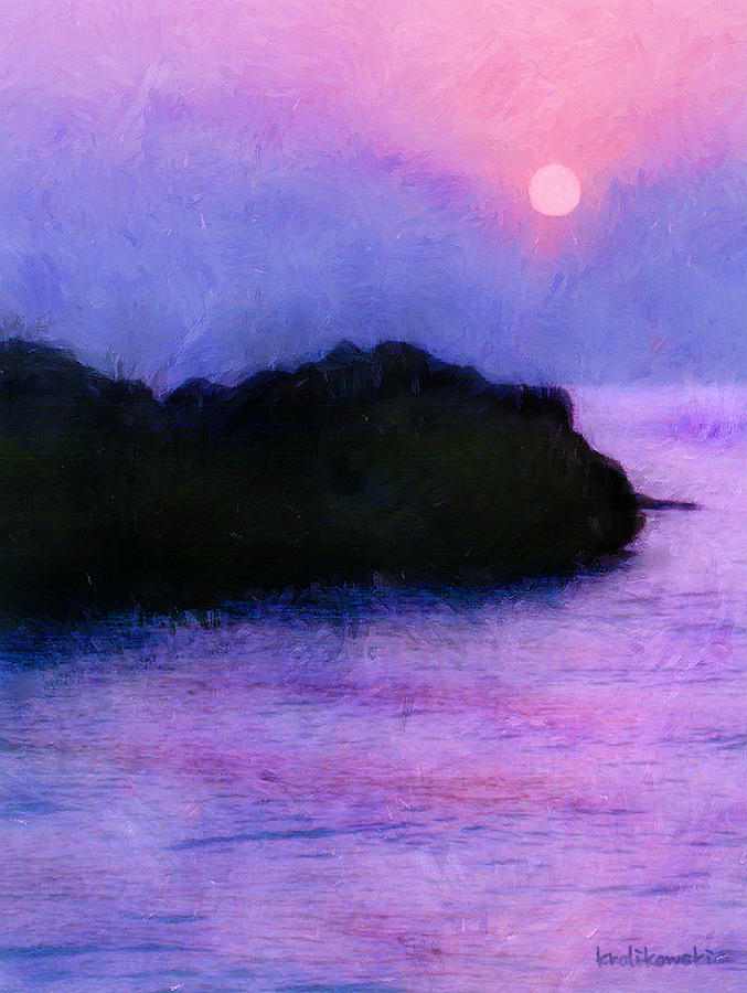 Lake Painting - Island Sunrise by Kenneth Krolikowski