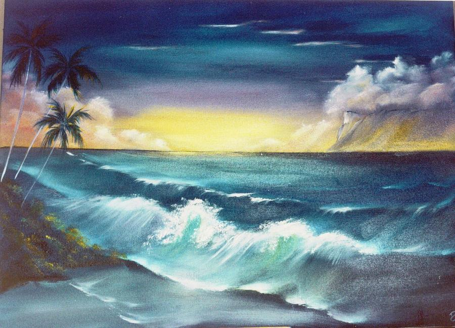 Seascape Painting - Island Sunset  by Dina Holland