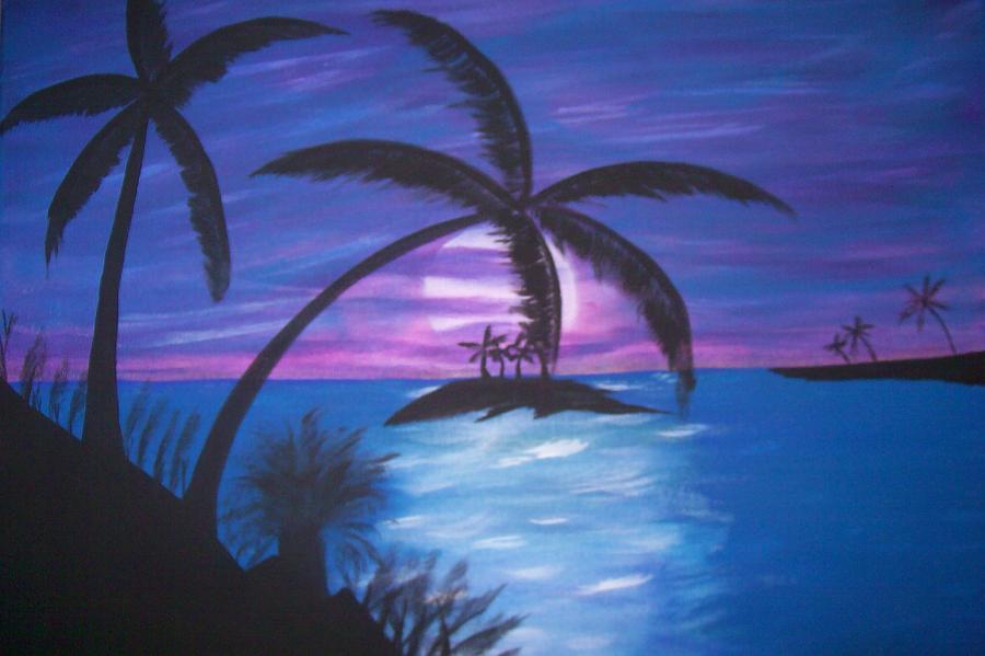 Purple Painting - Island Sunset by Paula Ferguson