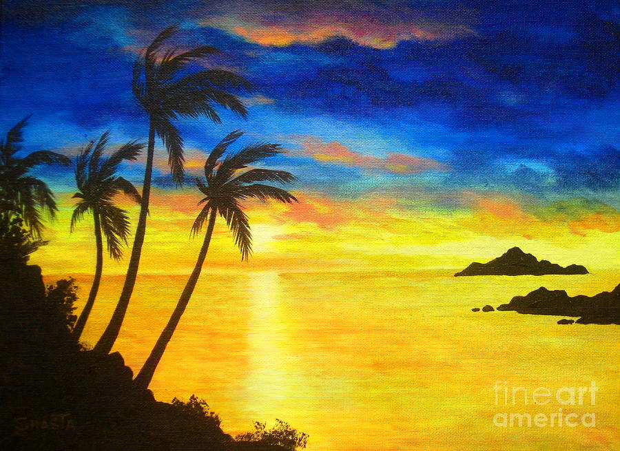 Seascape Painting - Island  Viewing by Shasta Eone