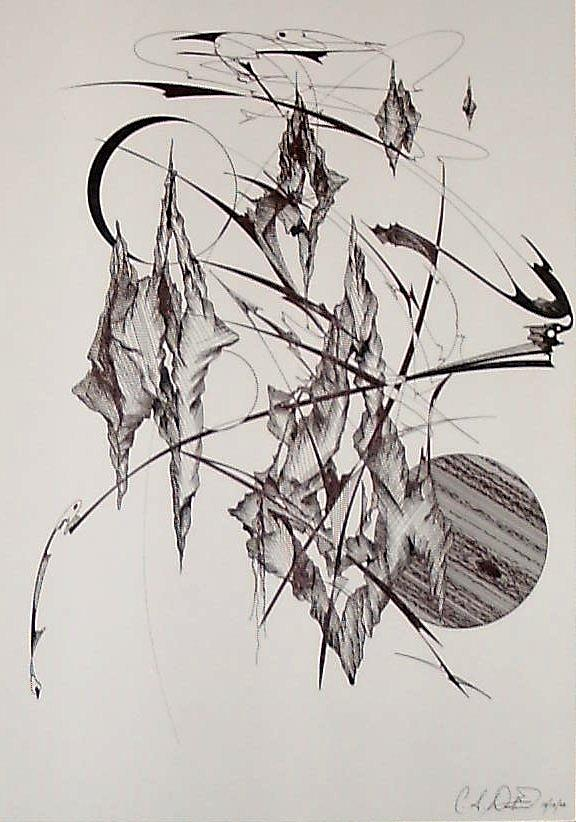 Abstract Drawing - Islands Apart by Charles Durbin