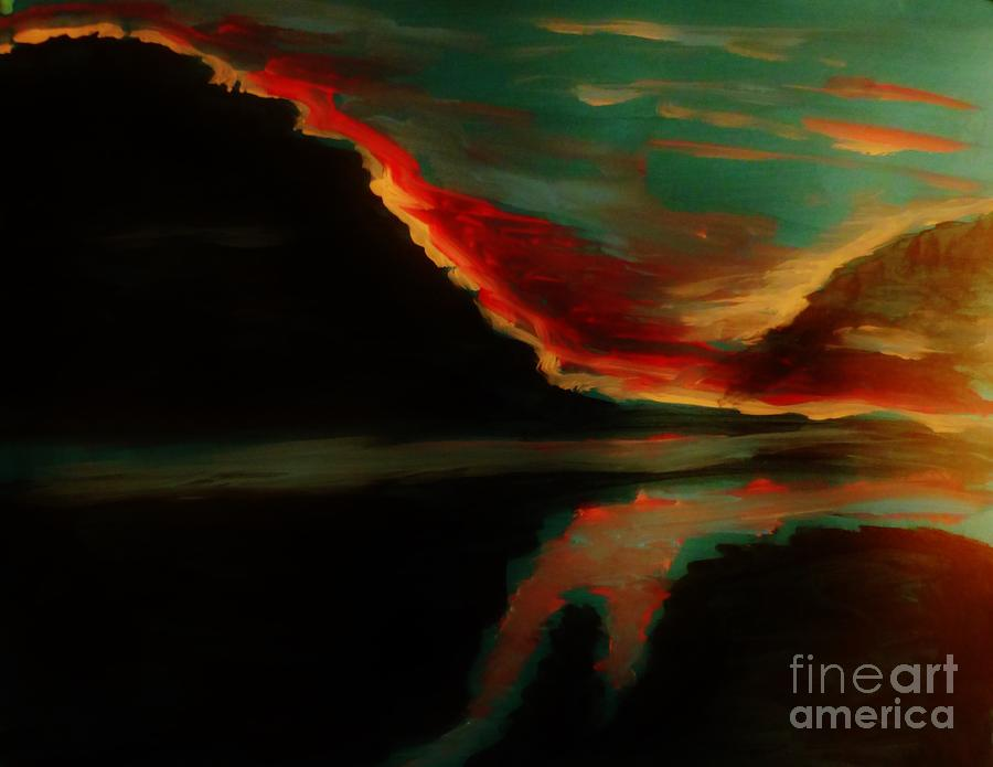 Seascape Painting - Fire Sky by Marie Bulger