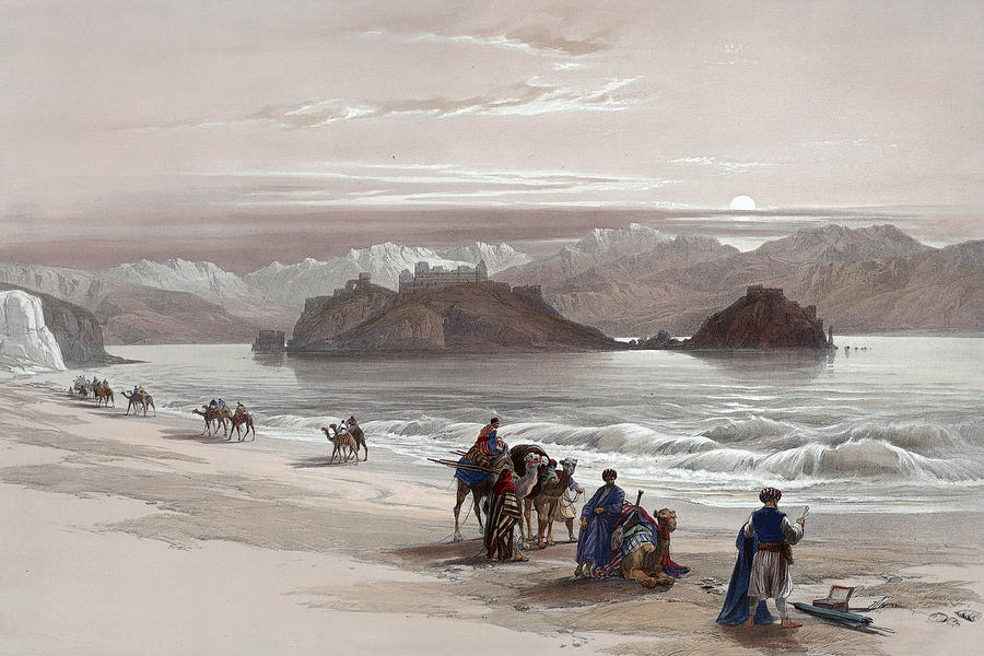 Holy Painting - Isle Of Graia Gulf Of Akabah Arabia Petraea Feby 27th 1839 by Munir Alawi
