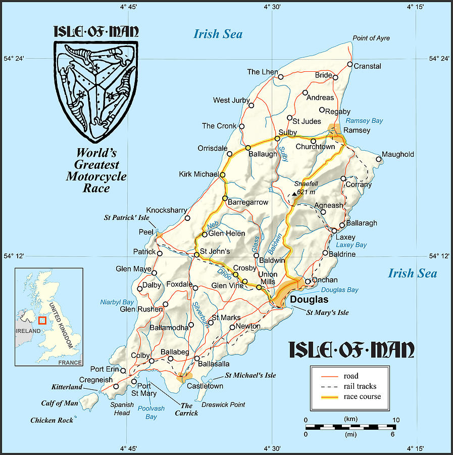 Isle Of Man Map Digital Art By Gary Grayson - Isle of man map