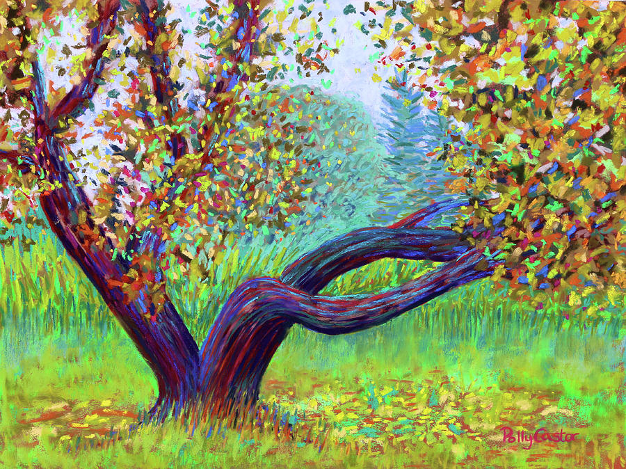 Apple Tree Painting - Islesford Apple Tree Near the Dock by Polly Castor