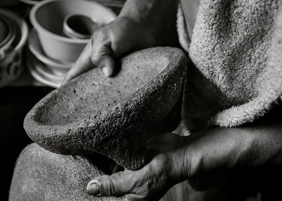 Molcajete Photograph - Ismaels Molcajete - Black and White by Dane Strom