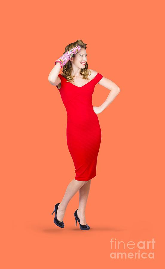 Full Length Photograph - Isolated Female Pin Up Cook On Stove Watch by Jorgo Photography - Wall Art Gallery