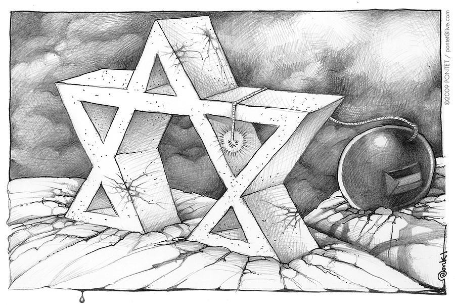Cartoon Drawing - Israel And Palestine by Caricatures By PONTET
