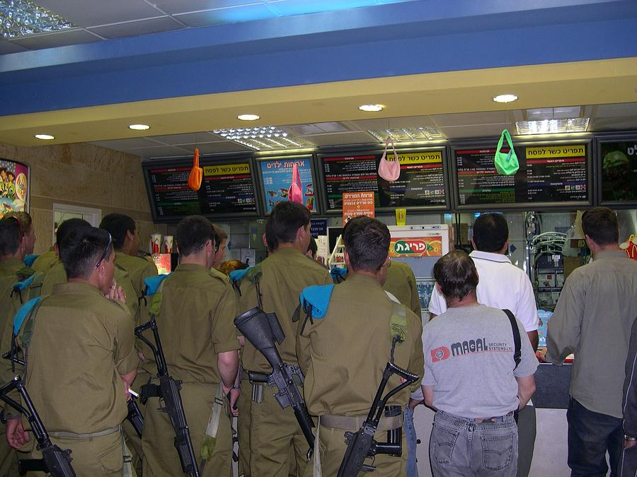 Israel Photograph - Israeli Soldiers Stop At A Kosher Mcdonalds by Susan Heller