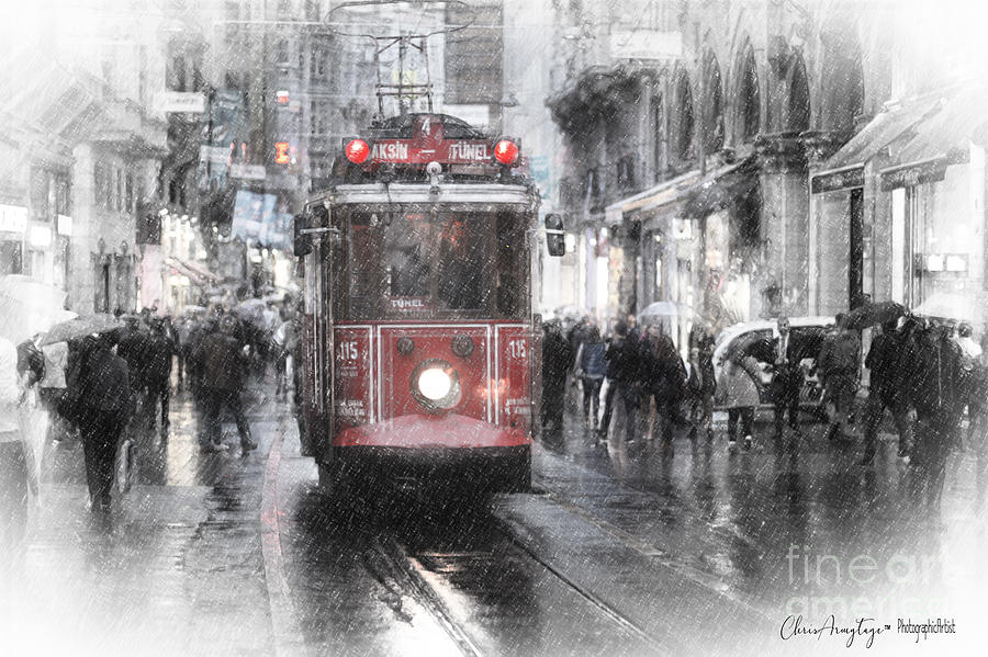 Turkey Mixed Media - Istambool Historic Tram by Chris Armytage