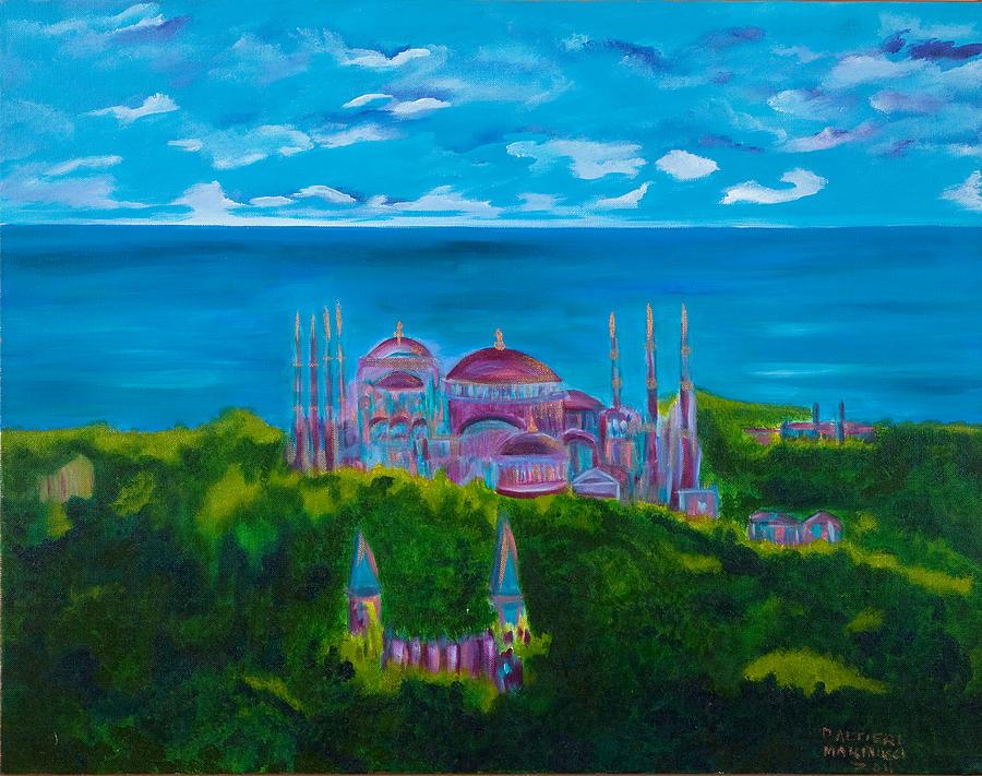 Istanbul Painting - Istanbul Skyline by Dani Altieri Marinucci