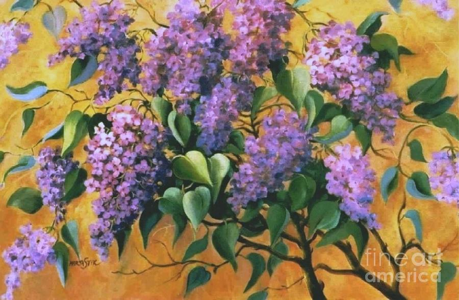 Pink Lilac Painting - It Is Lilac Time 2 by Marta Styk