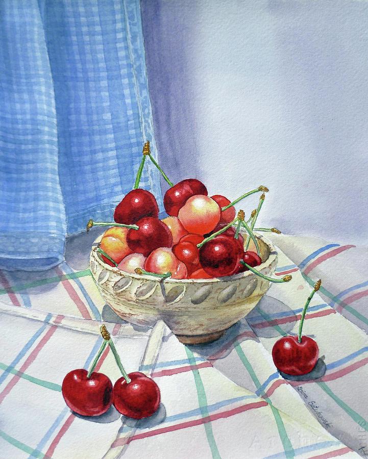 Cherries Painting - It Is Raining Cherries by Irina Sztukowski