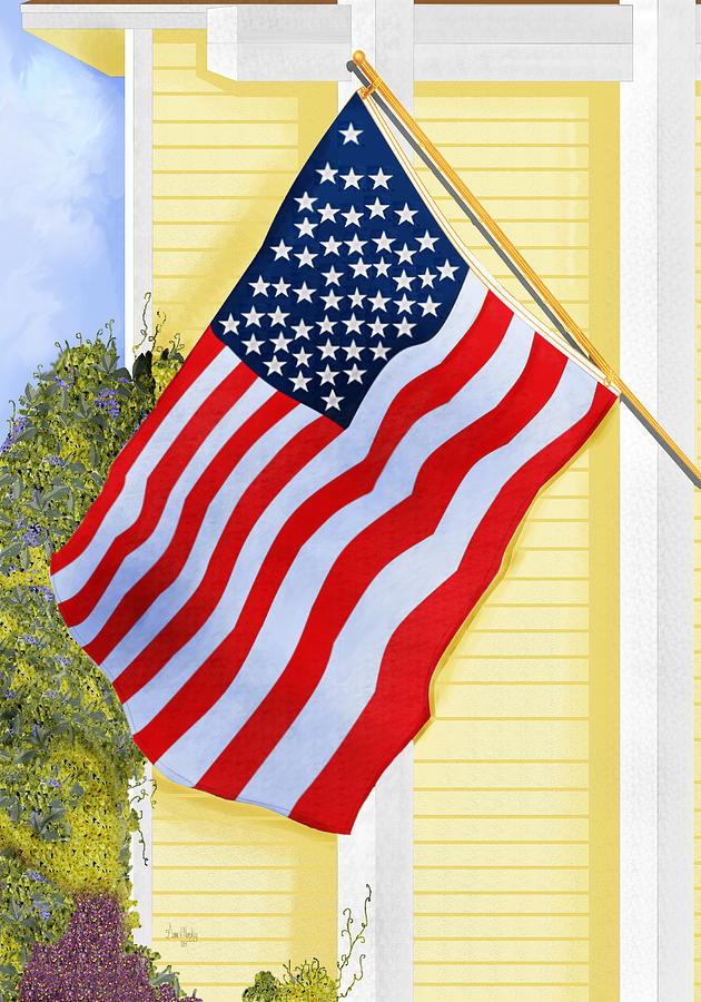 U.s. Flag Painting - It Will Fly Until They All Come Home by Anne Norskog