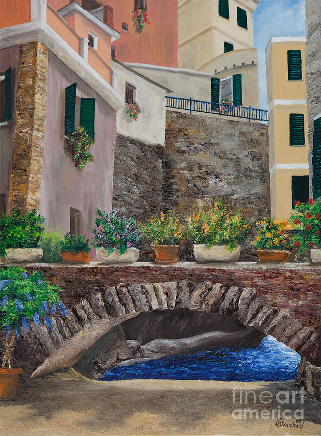 Italy Art Painting - Italian Arched Bridge With Flower Pots by Charlotte Blanchard