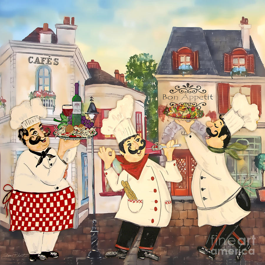French Painting - Italian Chefs-jp3042 by Jean Plout