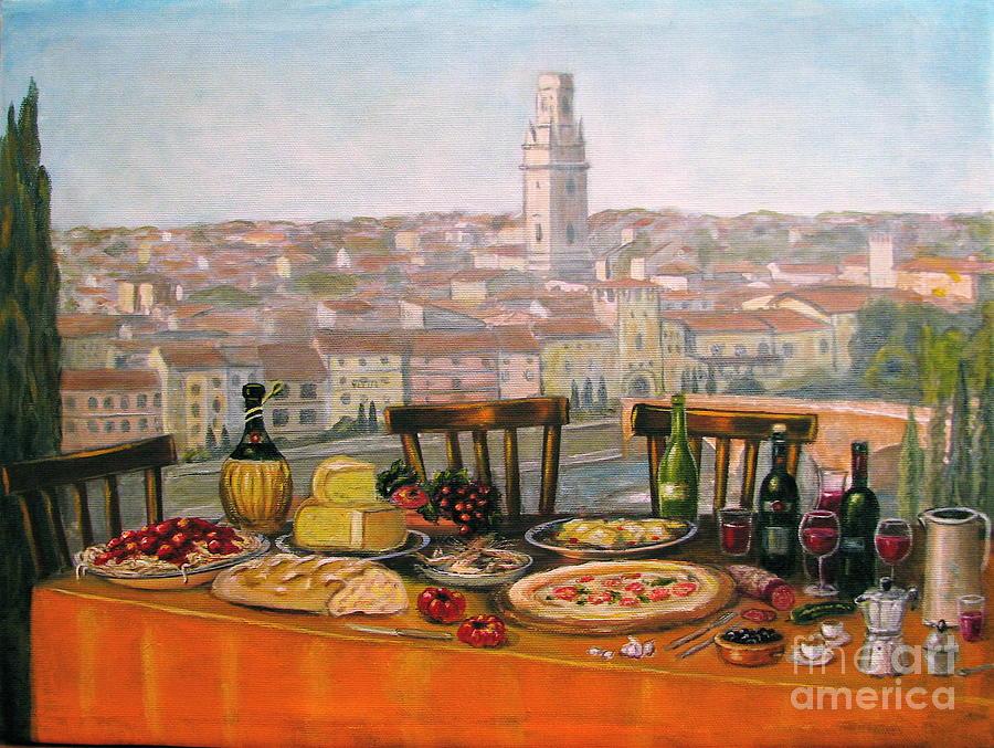 Angelica Dichiara Painting - Italian Cityscape-verona Feast by Italian Art