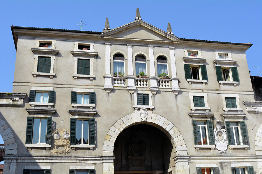 italian classical building with arches and decorative elements