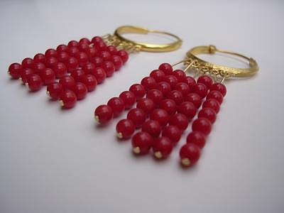 Italian Coral Tassel Earrings Jewelry by Mia Katrin