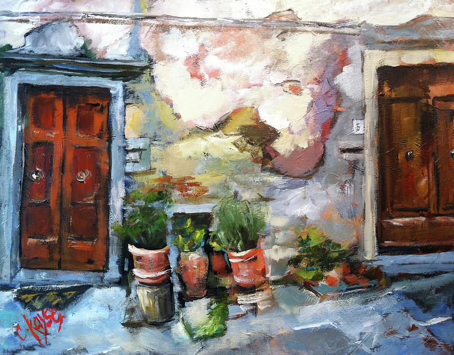 Italy Painting - Italian Doors by Claire Kayser & Italian Doors Painting by Claire Kayser