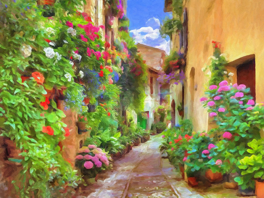 Italian Flowers Painting by Impressionist Art