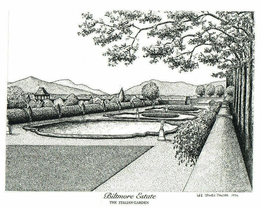 Biltmore Estate Drawing - Italian Garden on Biltmore Estate by Lee Pantas