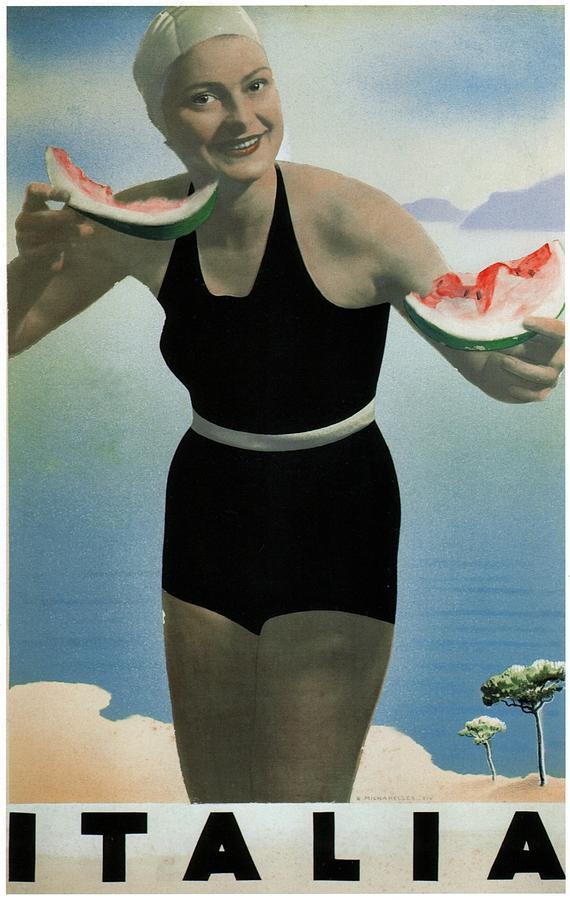 Italia Painting - Italian Girl in a beach in Black Swimwear having watermelon - Vintage Travel Poster by Studio Grafiikka