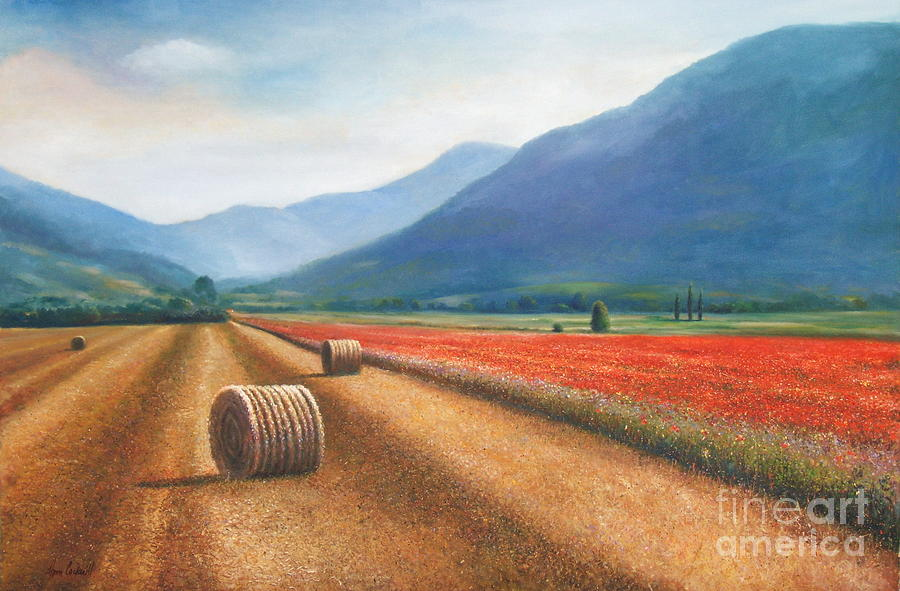 Tuscan Painting - Italian Haybales And Poppies by Ann Cockerill