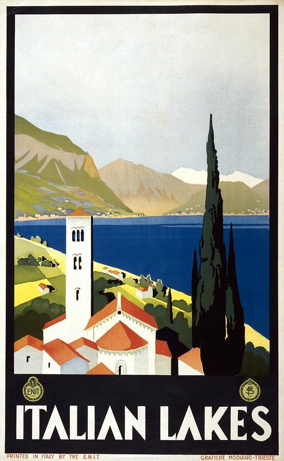 Italian Lakes - Vintage Travel Poster - Landscape Illustration Painting