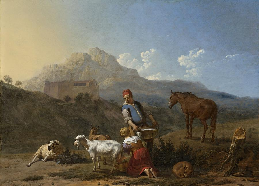Italian Landscape Painting - Italian Landscape With Girl Milking A Goat by Karel Dujardin