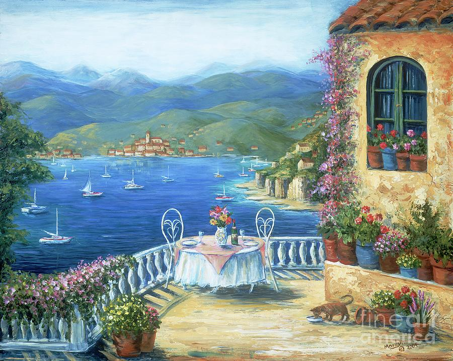 Cat Painting - Italian Lunch On The Terrace by Marilyn Dunlap
