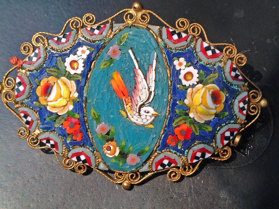 Italian Micro-mosaic Broche Featuring A Floral And Bird Design Jewelry by Micro-mosaic artist