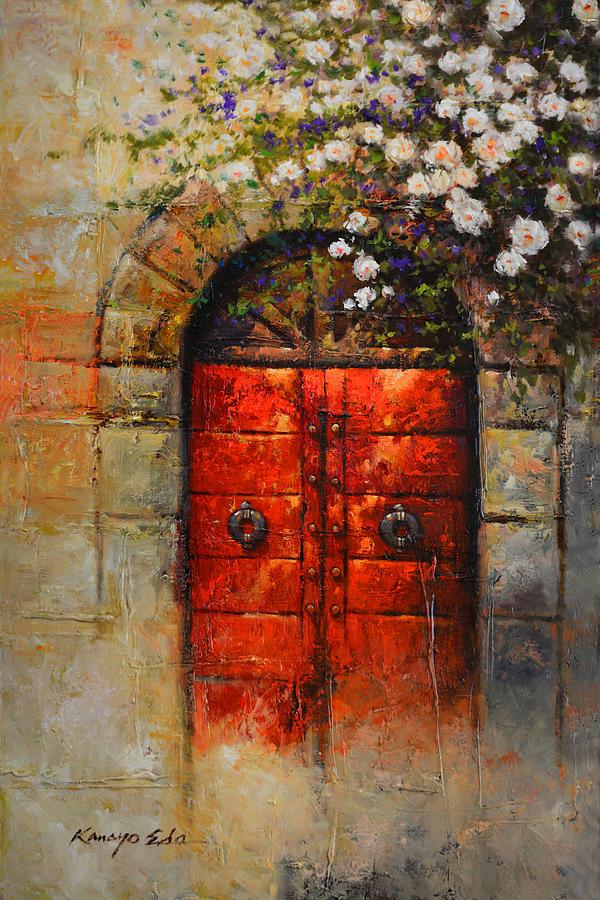 European Painting - Italian Red Door From Tuscany With White Rosebush by Kanayo Ede & Italian Red Door From Tuscany With White Rosebush Painting by Kanayo Ede