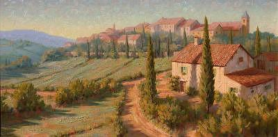 Village Painting - Italian Roses - Italy by Roger Williams