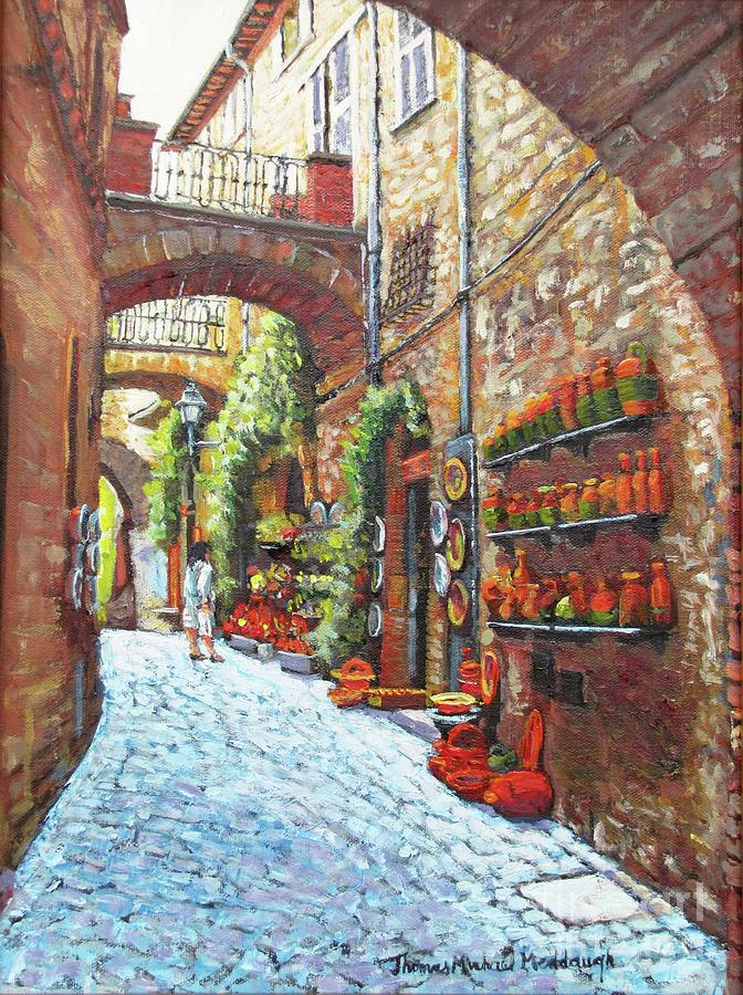 Italy Painting - Italian Street Market by Thomas Michael Meddaugh