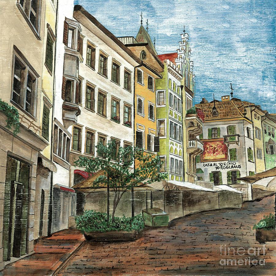 Street Scene Painting - Italian Village 1 by Debbie DeWitt