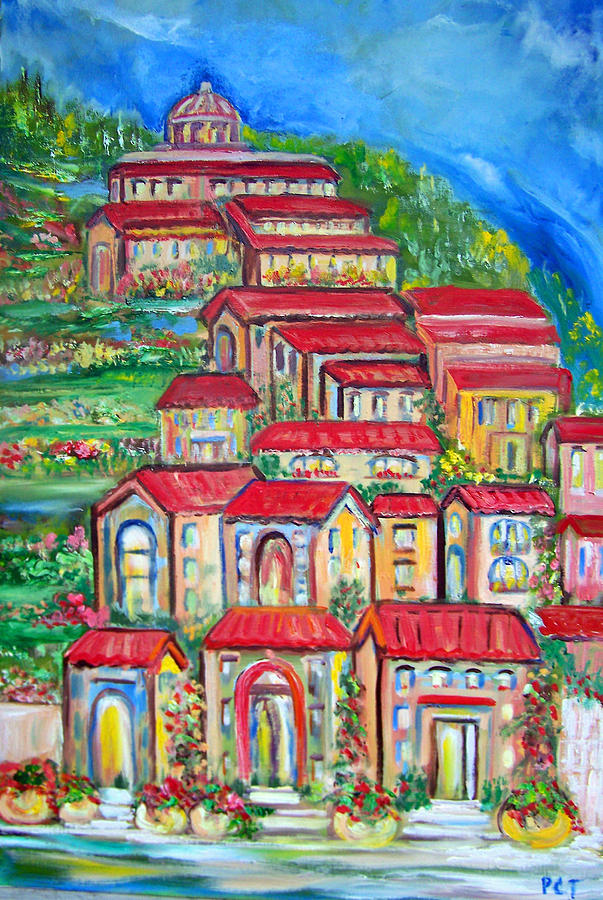 Tuscan Village Painting - Italian Village On A Hill by Patricia Taylor