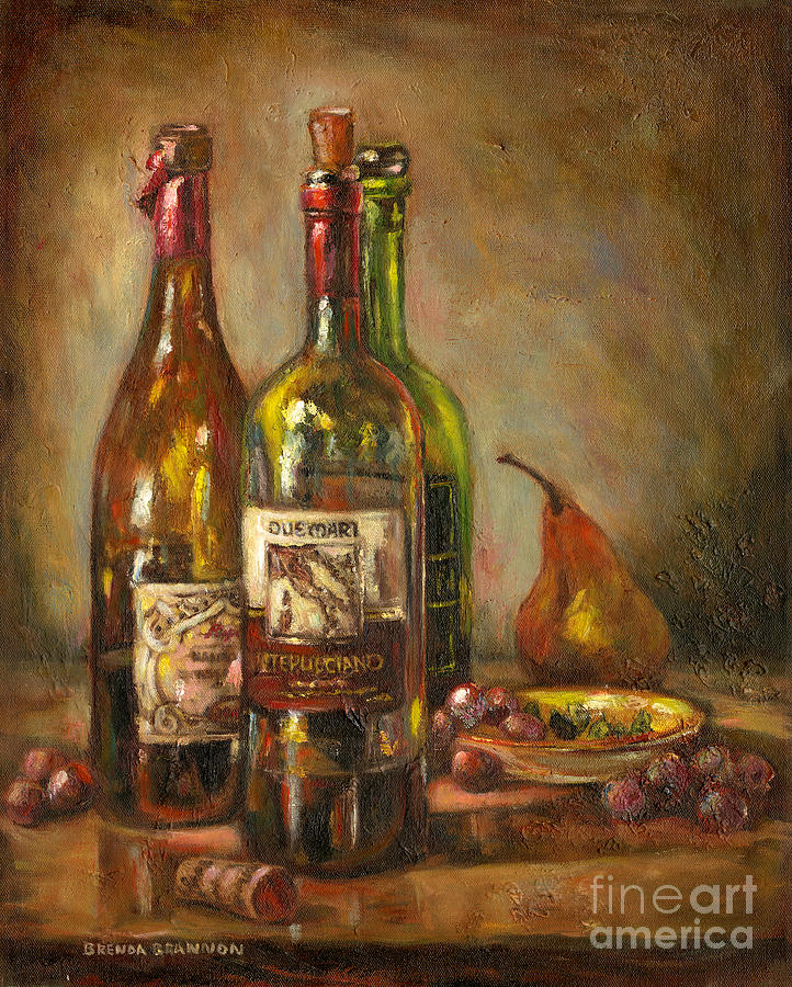 Italian wine bottles painting by brenda brannon for Painting and wine
