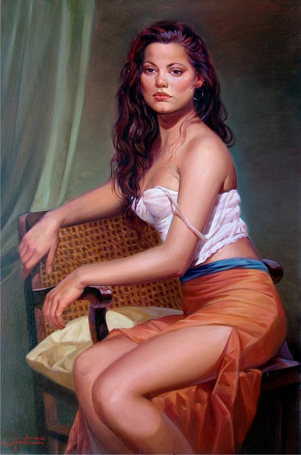 Quadri Painting - Italian Woman by Amitrano