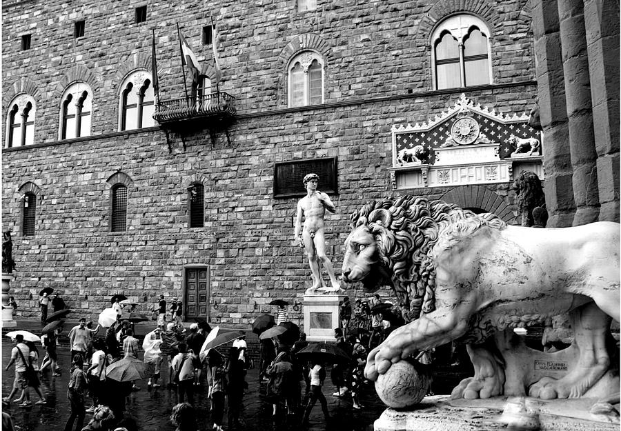 Italy - Florence Historic Centre - B/W by Jacqueline M Lewis