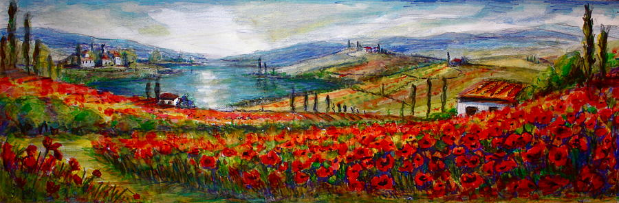 Italy Painting - Italy Tuscan Poppies by Yvonne Ayoub