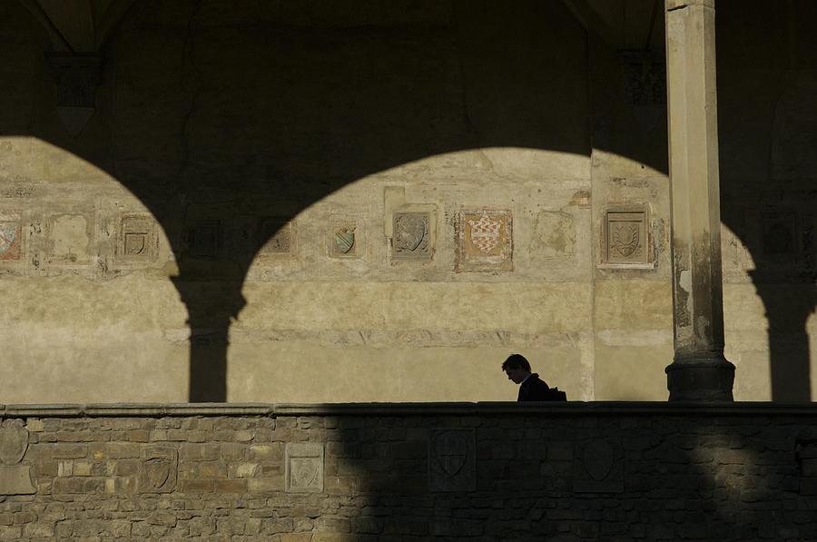 Arch Photograph - Italy, Tuscany, Florence, A Man Walks by Keenpress